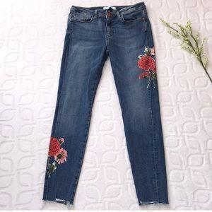 ZARA BASIC DENIM Floral Boho Raw Hem Jeans Size 6